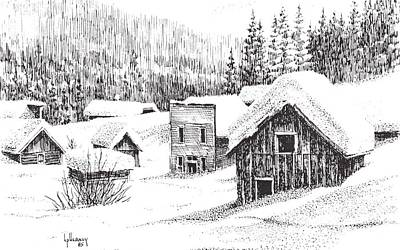 Ghost Towns Drawing - Garnet Ghost Town Winter Montana by Kevin Heaney