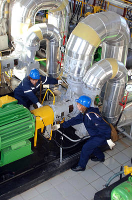 Compressor Photograph - Gas Compressor Servicing by Ria Novosti
