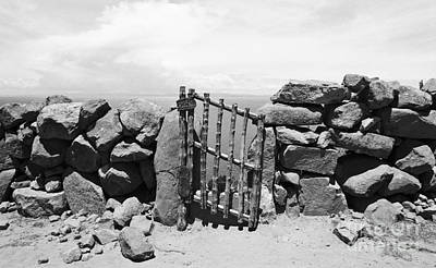 Gate Overlooking Lake Titicaca Art Print by Darcy Michaelchuk