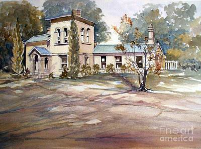 Beechworth Painting - gatehouse LaTrobe university Beechworth by Audrey Russill