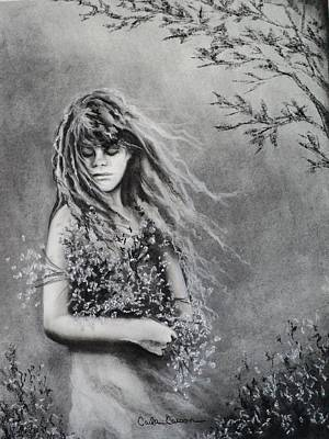 Drawing - Gathering Spring Wildflowers by Carla Carson