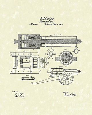 Gatling Machine Gun 1862 Patent Art Print by Prior Art Design