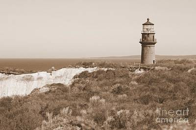 Photograph - Gay Head Lighthouse - Sepia by Carol Groenen