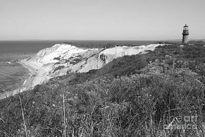 Photograph - Gay Head Lighthouse With Aquinna Beach Cliffs - Black And White by Carol Groenen