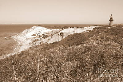 Photograph - Gay Head Lighthouse With Aquinna Beach Cliffs - Sepia by Carol Groenen