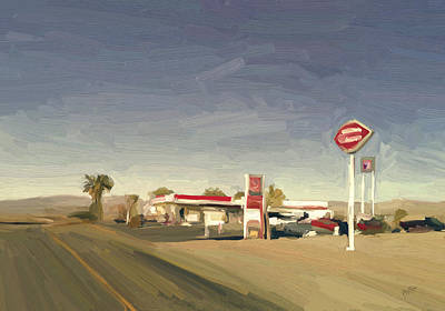 Briex Painting - Gaz Station 26069 Us 66 California by Nop Briex