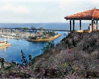 Trawler Digital Art - Gazebo Overlooking Harbor by Elaine Plesser
