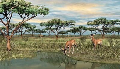 Digital Art - Gazelle At The Water Hole by Walter Colvin