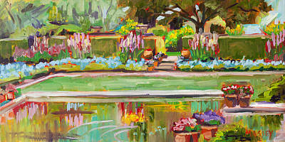 Forget-me-not Painting - Gazing Pond      Plein Air by Marie Massey