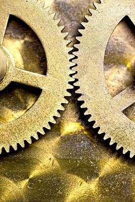 Gear Photograph - Gears From Inside A Wind-up Clock by John Short