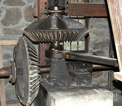 Gears Of The Old Grist Mill Art Print by John Small