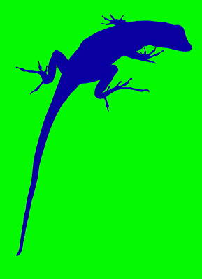 Photograph - Gecko Silhouette Green Blue by Ramona Johnston
