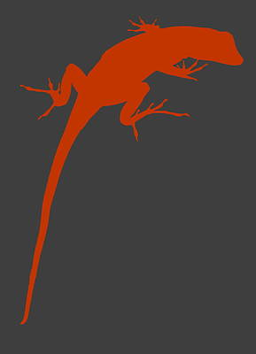 Photograph - Gecko Silhouette Orange Grey by Ramona Johnston