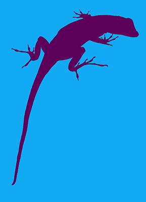 Photograph - Gecko Silhouette Purple Blue by Ramona Johnston