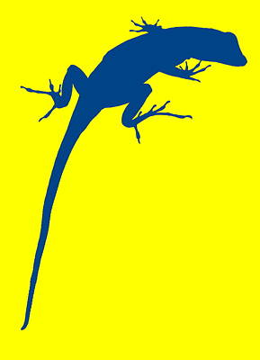 Photograph - Gecko Silhouette Yellow Blue by Ramona Johnston
