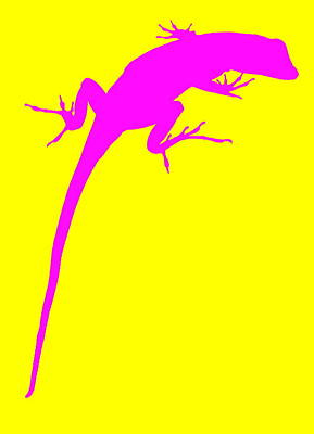 Photograph - Gecko Silhouette Yellow Pink by Ramona Johnston