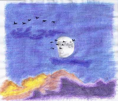 Geese And The Moon Art Print by Tony  Nelson