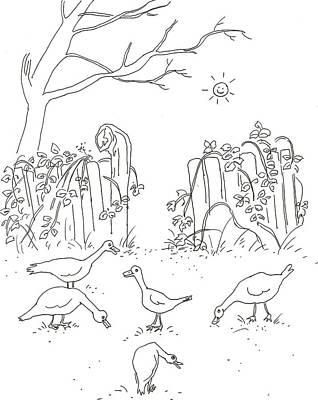 Geese In The Garden Art Print by Vass Eva Rozsa