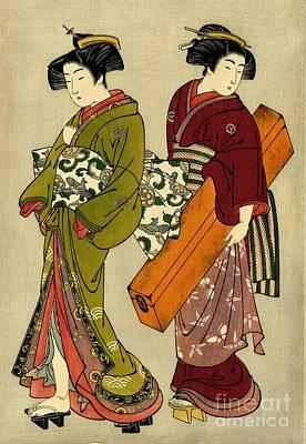Geisha And Servant With Koto 1777 Art Print