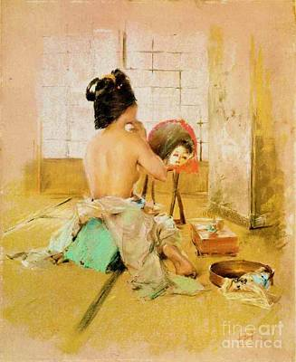 Painting - Geisha At Her Toilet by Pg Reproductions