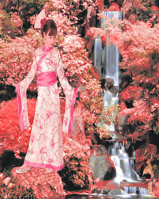 Digital Art - Geisha Waterfall by Richard Stevens