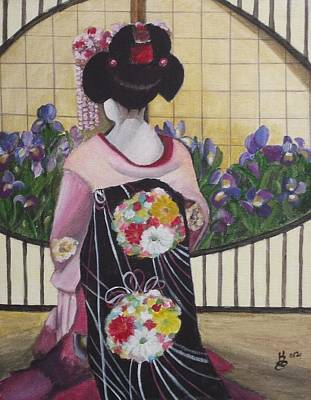 Geisha With Iris Art Print by Kim Selig