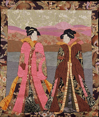 Tapestry - Textile - Geishas In Rose by Roberta Baker