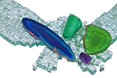 Gemstones And Broken Glass Art Print by Susan Leggett