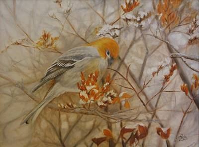 Pine Grosbeak Wall Art - Painting - Generous Provision by Tammy  Taylor