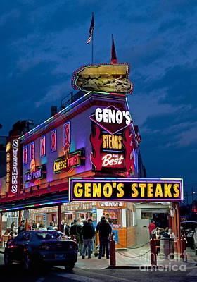 Genos Photograph - Geno's Steaks by John Greim