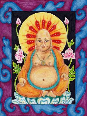 Devotional Drawing - Gentle Buddha by Suzan  Sommers