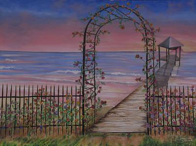 Gentle Trellis Of Roses Art Print