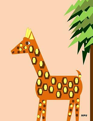 Digital Art - Geo Giraffe by Maria Urso