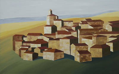 Painting - Cubist Village Spain by John Farley