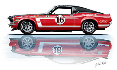 Trans Painting - Geore Follmer Trans Am Mustang by David Kyte
