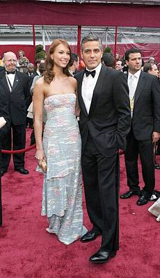 George Clooney, Sarah Larson Wearing Print by Everett