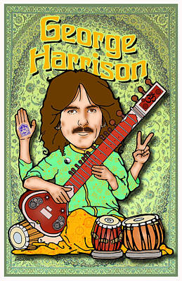 George Harrison Print by John Goldacker