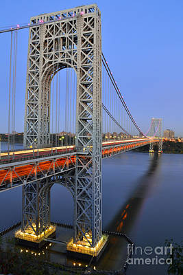 George Washington Bridge At Twilight Art Print by Zawhaus Photography