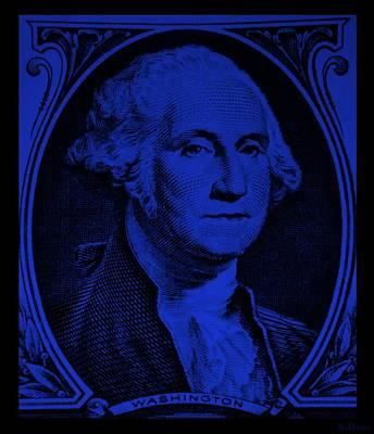 Potus Digital Art - George Washington In Blue by Rob Hans