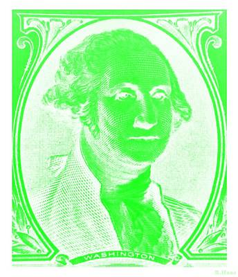Photograph - George Washington In Negative Green by Rob Hans