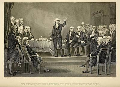 Constitutional Convention Photograph - George Washington Presiding by Everett