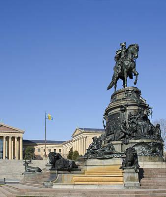 Benjamin Franklin Parkway Photograph - George Washington Statue At The Philadelphia Art Museum by Brendan Reals