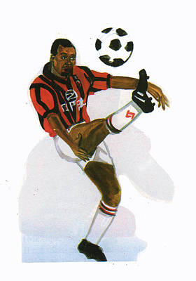 George Weah In Action Art Print by Emmanuel Baliyanga