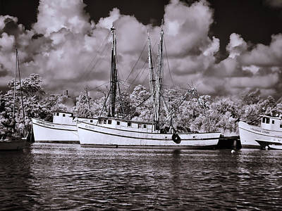 Photograph - Georgetown Shrimp Boats - Infrared by Bill Barber
