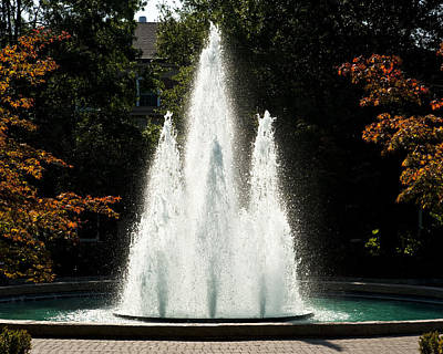 Sports Framed Photograph - Georgia Herty Field Fountain On Uga North Campus by Replay Photos