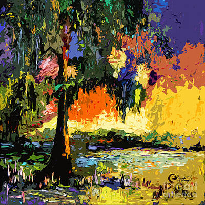 Georgia Okefenokee Live Oak And Spanish Moss Art Print