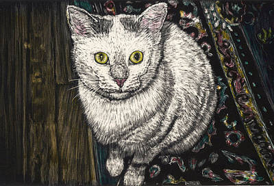 Scratchboard Painting - Georgie The Cat by Robert Goudreau