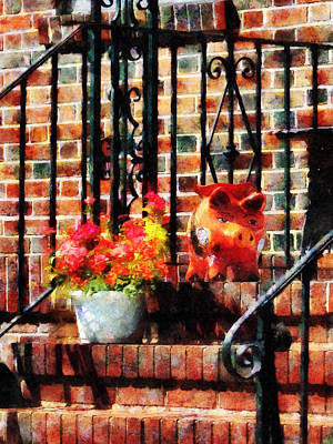 Photograph - Geraniums And A Pig by Susan Savad