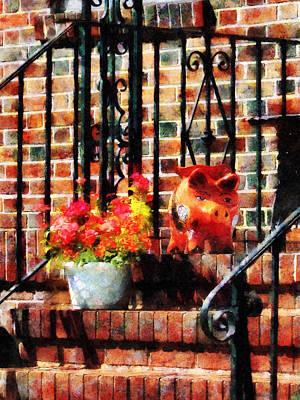 Geraniums And A Pig Art Print by Susan Savad