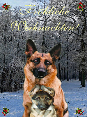 Mixed Media - German Card Holiday German Shepherd And Puppy by Eric Kempson